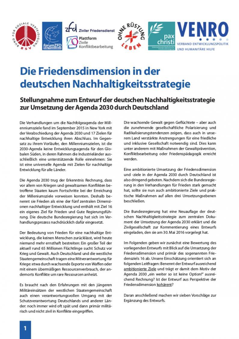 Die Friedensdimension in der deutschen Nachhaltigkeitsstrategie ...