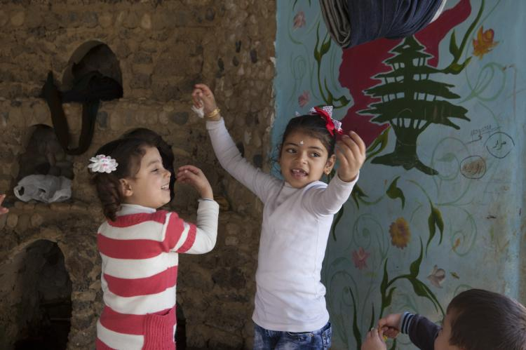 Kids dancing in Akkar, Lebanon