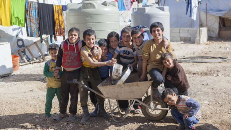 A group of refugee kids in Lebanon
