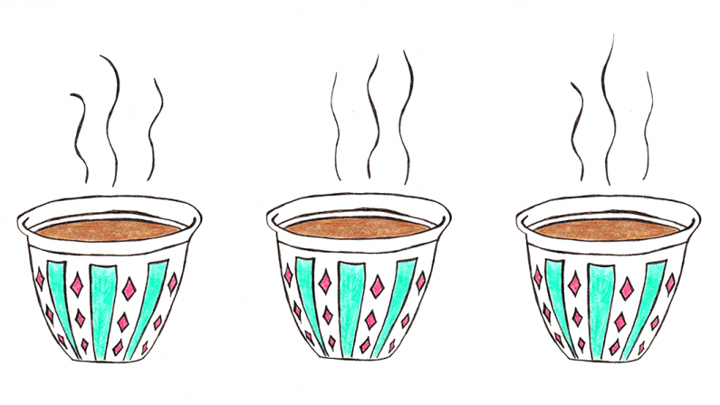 three cups with coffee