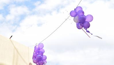 Purple Balloons in the Sky